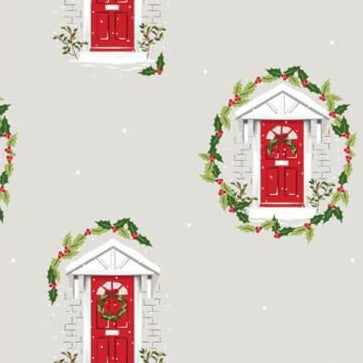 The Craft Cotton Co Traditional Christmas - Red Door  - 100% Cotton Fabric