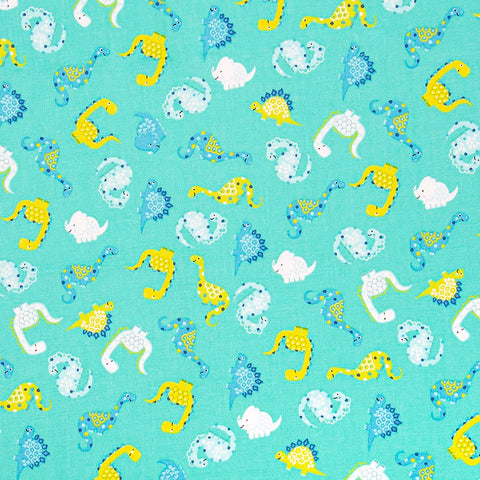 The Craft Cotton Co Desert Dino - Turquoise - 100% Cotton Fabric