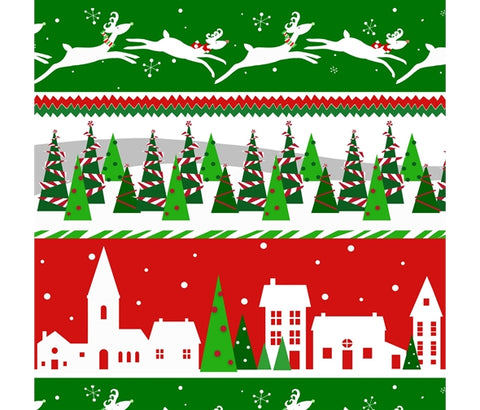 Studio E Peppermint Reindeer Stripe