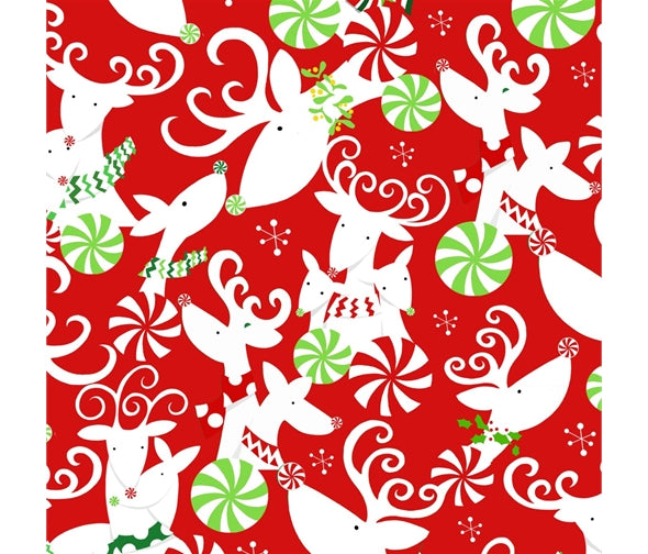 Studio E Peppermint Reindeer - Reindeer Red - 100% Cotton Fabric