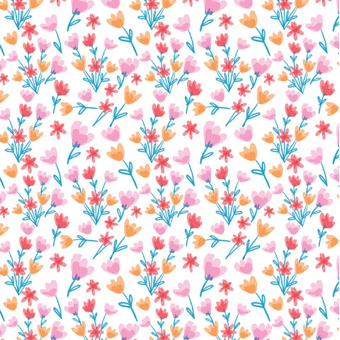 The Craft Cotton Co Girls Day Out - Flowers - 100% Cotton Fabric