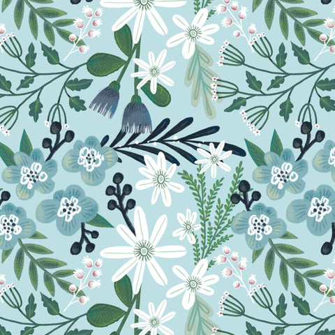 The Craft Cotton Co Garden Party - Blue Flower - 100% Cotton Fabric