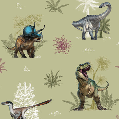 The Craft Cotton Co by Natural History Museum Age of the Dinosaurs - Dinosaur Landscape - 100% Cotton Fabric