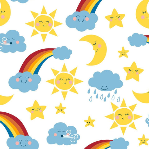 3 Wishes Happy Clouds & Rainbows - Happy Skies - 100% Cotton Fabric