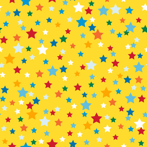 3 Wishes Happy Clouds & Rainbows - Stars Yellow - 100% Cotton Fabric
