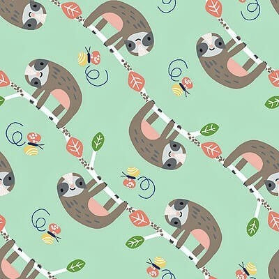3 Wishes Wild About You - Sloths - 100% Cotton Fabric