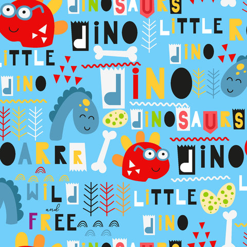3 Wishes Little Dino - Dinosaur Shapes - 100% Cotton Fabric