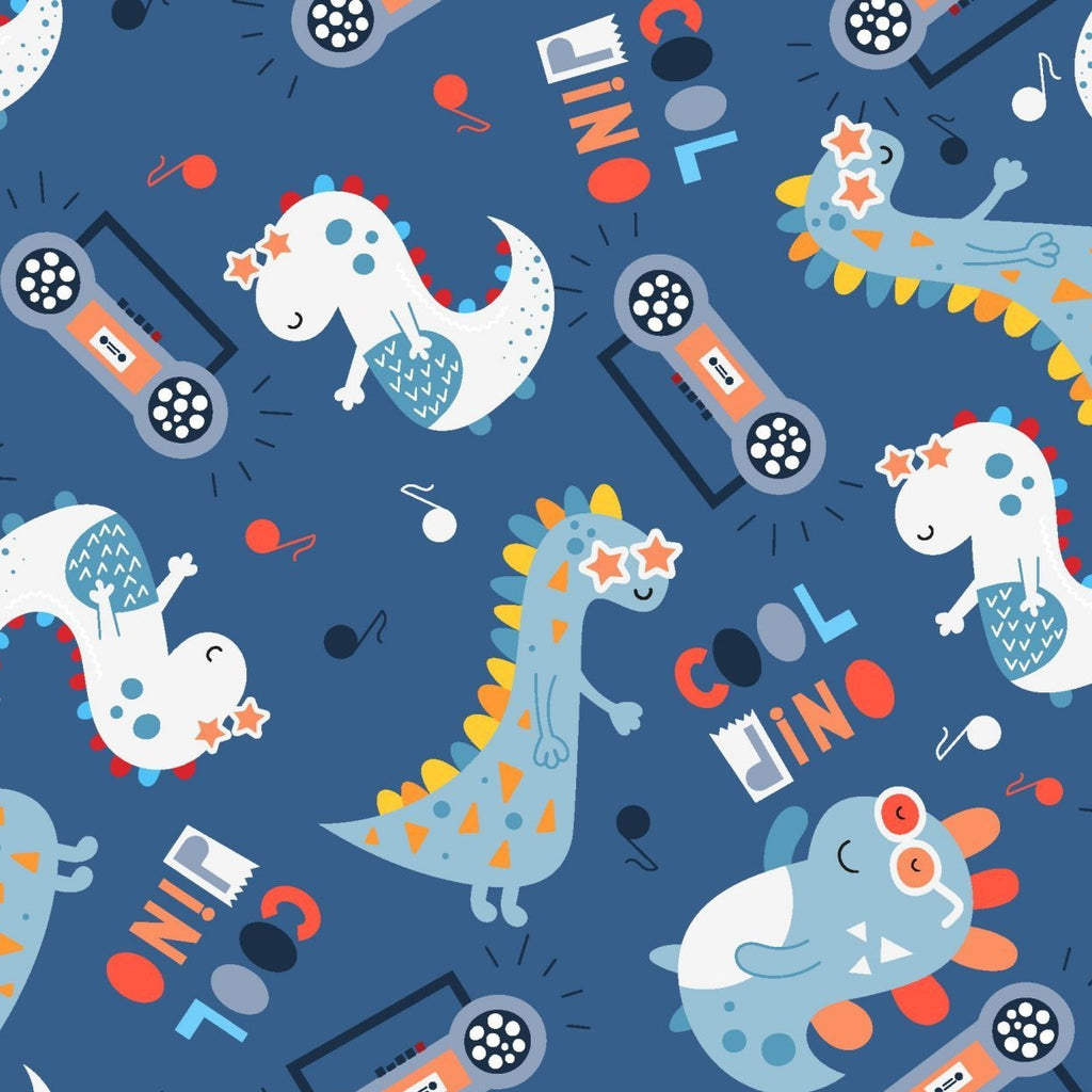 3 Wishes Little Dino - Cool Dino - 100% Cotton Fabric