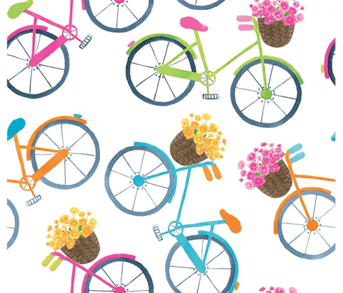 Blank Quilting Home Sweet Home - Bicycles White - 100% Cotton Fabric