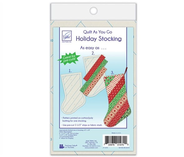 June Tailor Quilt-As-You-Go Christmas Stocking Pre-Printed Wadding Pack