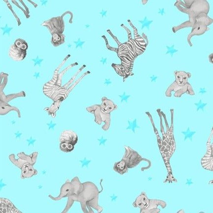 Clothworks Baby Safari - Animal Scatter Blue Y2605-33