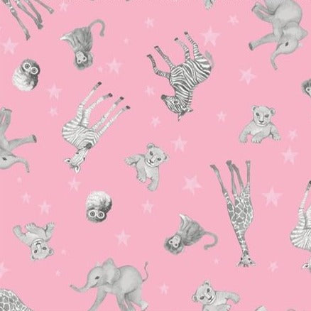 Clothworks Baby Safari - Animal Scatter Pink Y2605-73