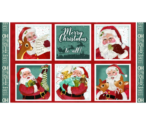 Henry Glass Jolly Ole Soul Santa Blocks Christmas Fabric Panel