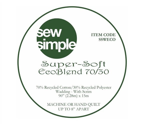 Sew Simple Super-Soft EcoBlend Recycled 70/30 Wadding