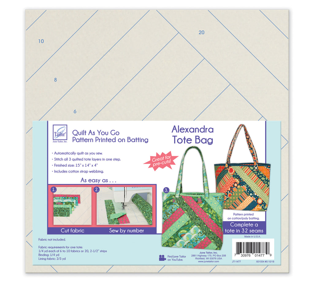 June Tailor Quilt-As-You-Go Alexandra Tote Bag Pre-Printed Wadding Pack
