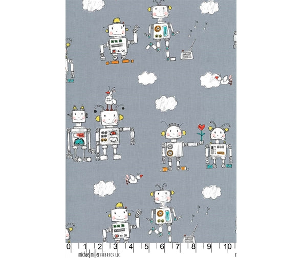 Michael Miller You Turn Me On - Main Steel - 100% Cotton Fabric