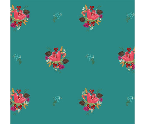 Michael Miller Little Sewists - Soul Blossoms Teal - 100% Cotton Fabric