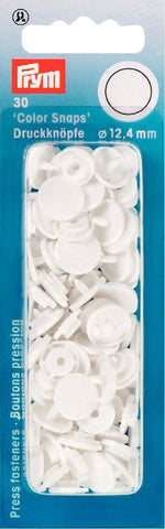 Prym Plastic Colour Snaps Press Fasteners - Round White