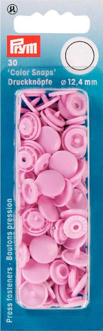 Prym Plastic Colour Snaps Press Fasteners - Round Pale Pink