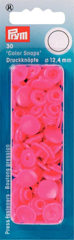 Prym Plastic Colour Snaps Press Fasteners - Round Pink