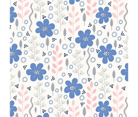 P&B Meadow Lane - Mini Meadow Blue - 100% Cotton Fabric