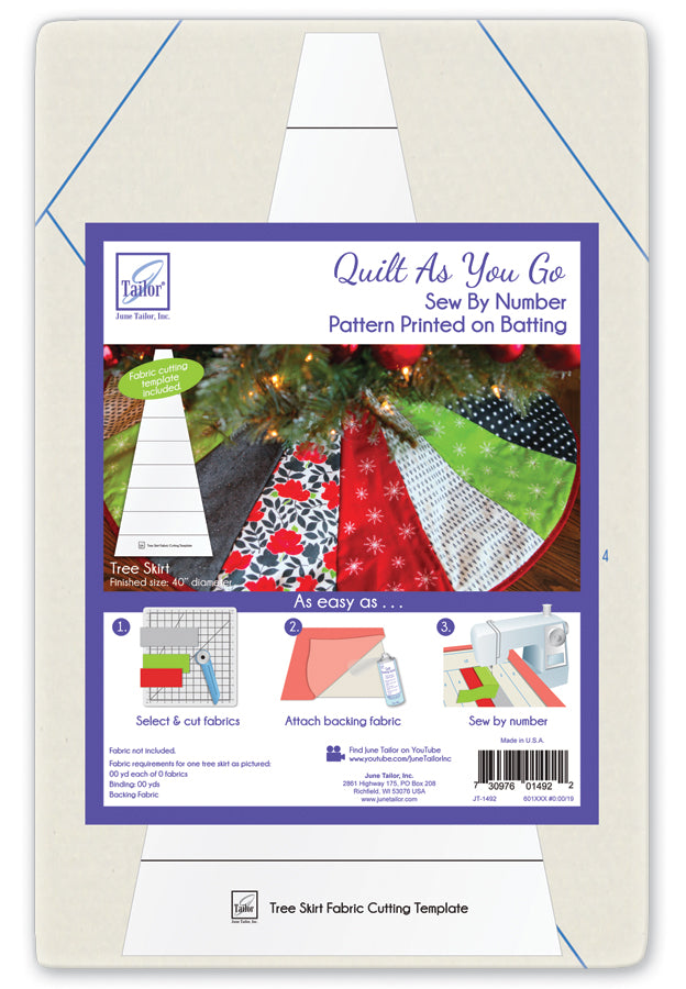 June Tailor Quilt-As-You-Go Christmas Tree Skirt Pre-Printed Wadding Pack