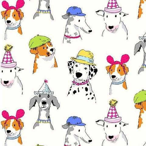 Michael Miller Dog Show - Dogs White - 100% Cotton Fabric