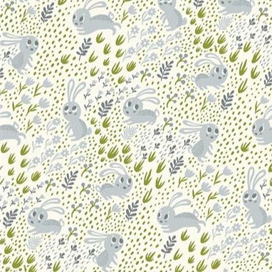 Clothworks Forest Babes - Bunnies Grey - 100% Cotton Fabric