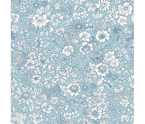Liberty Flower Show Spring - Emily Silhouette Flower Blue - Lasenby Quilting Cotton Fabric