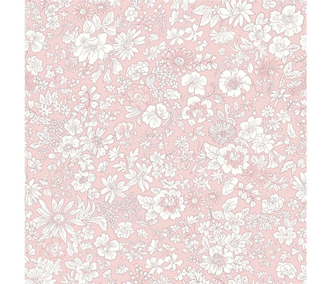 Liberty Flower Show Spring - Emily Silhouette Flower Pink - Lasenby Quilting Cotton Fabric