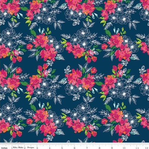 Riley Blake Garden Party - Flower Bed Navy - 100% Cotton Fabric