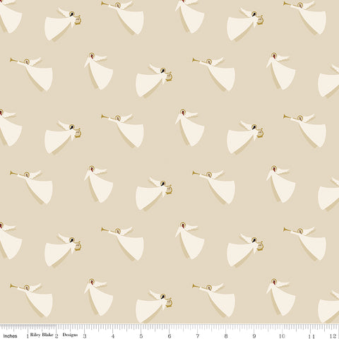 Riley Blake Oh Holy Night - Angels Linen Sparkle (metallic) - 100% Cotton Fabric
