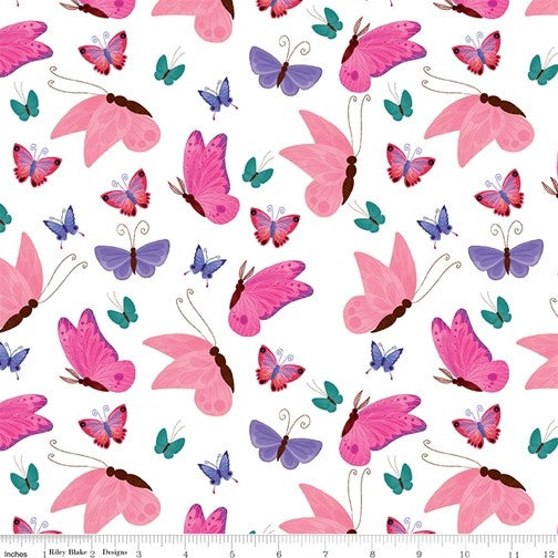 Riley Blake Uni the Unicorn - Butterflies White - 100% Cotton Fabric