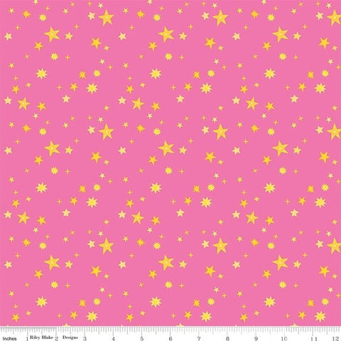 Riley Blake Uni the Unicorn - Stars Pink - 100% Cotton Fabric