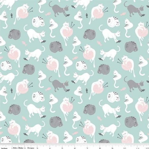 Riley Blake Purrfect Day - Yarn Aqua - 100% Cotton Fabric