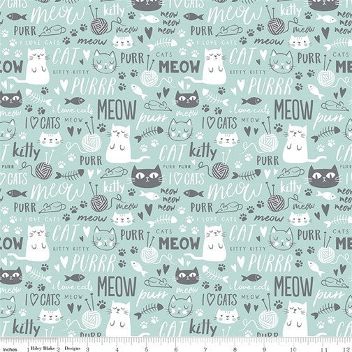 Riley Blake Purrfect Day - Text Aqua - 100% Cotton Fabric