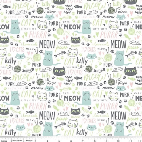Riley Blake Purrfect Day - Text White - 100% Cotton Fabric