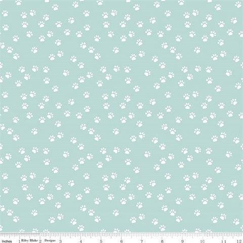 Riley Blake Purrfect Day - Paws Aqua - 100% Cotton Fabric