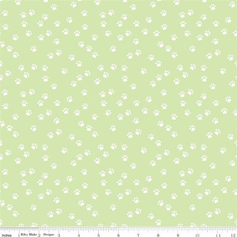 Riley Blake Purrfect Day - Paws Green - 100% Cotton Fabric