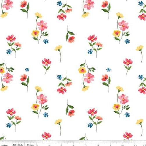 Riley Blake Glohaven - Flowers White - 100% Cotton Fabric