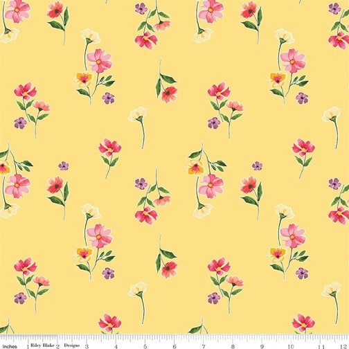 Riley Blake Glohaven - Flowers Yellow - 100% Cotton Fabric
