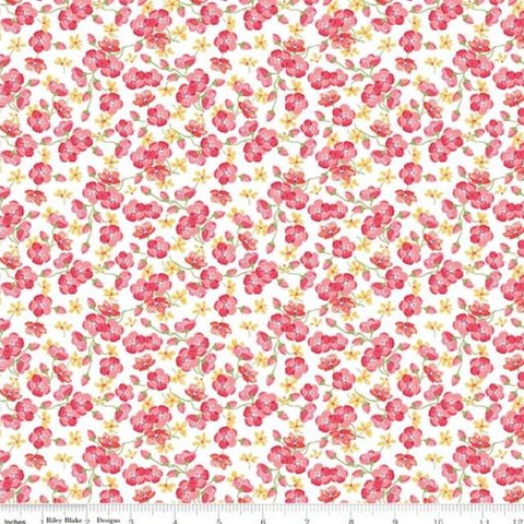 Riley Blake Glohaven - Blossoms White - 100% Cotton Fabric