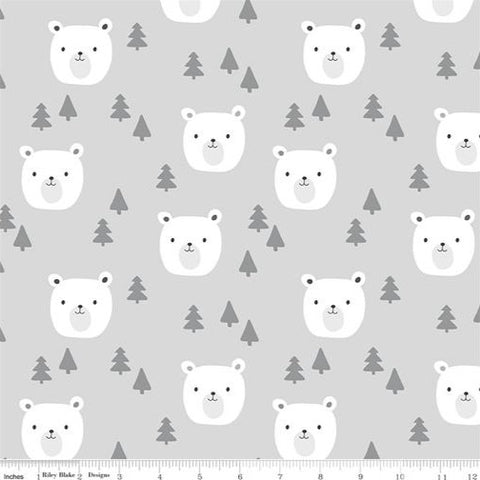 Riley Blake Designer Flannels Baby Bears - Bears Grey - Flannel Fabric