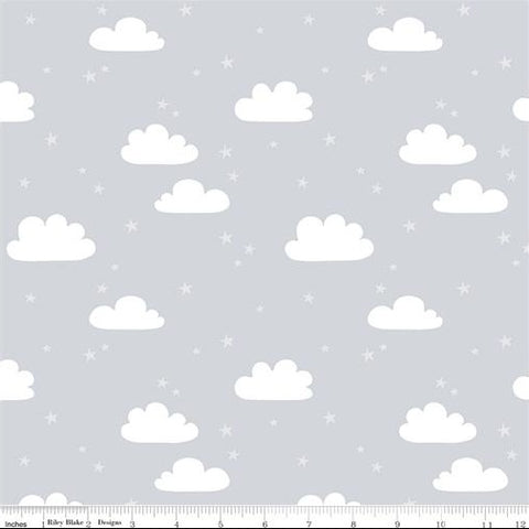 Riley Blake Designer Flannels Baby Bears - Clouds Grey - Flannel Fabric