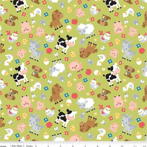 Riley Blake Down on the Farm - Animals Green - 100% Cotton Fabric
