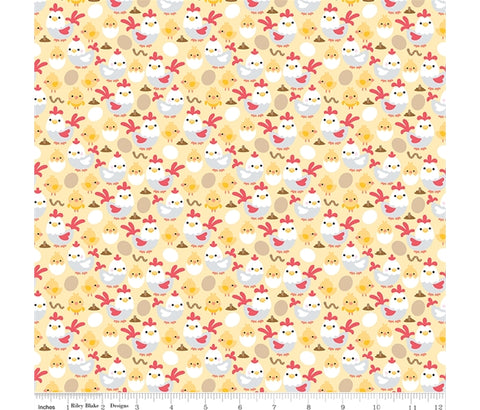 Riley Blake Down on the Farm - Chickens Yellow - 100% Cotton Fabric