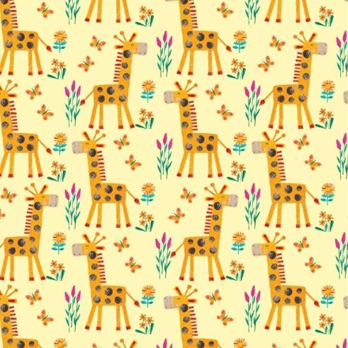 Henry Glass Numbers in the Jungle - Giraffes Yellow - 100% Cotton Fabric