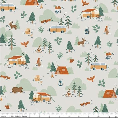 Riley Blake Camp Woodland - Main Off White - 100% Cotton Fabric