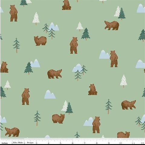 Riley Blake Camp Woodland - Grizzly Bears Pistachio - 100% Cotton Fabric