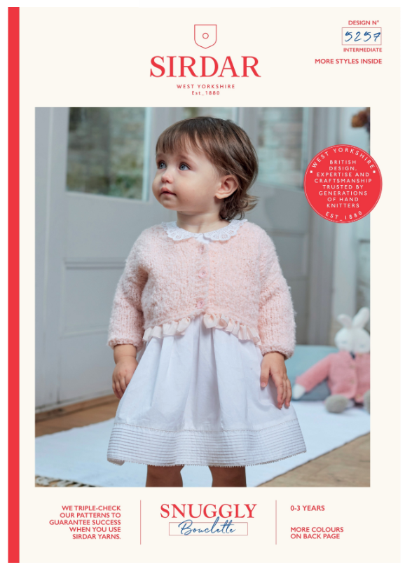 Sirdar Snuggly Bouclette Knitting Pattern - 5257 Girls V-Neck Cardigan and Doll Cardigan